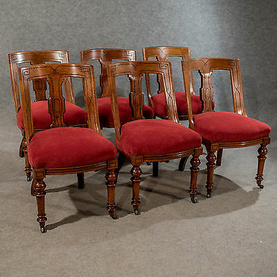 Antique Oak Set of 6 Dining Chairs - Fine Quality English Victorian c1890