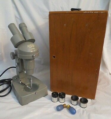 Vintage Technical Instrument Co. Microscope No. 27068 Objectives & Wood Case