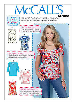 McCalls M7322 Learn to Sew for Fun PATTERN Misses Tops Sizes XSM(4-6)-XXL(24-26)