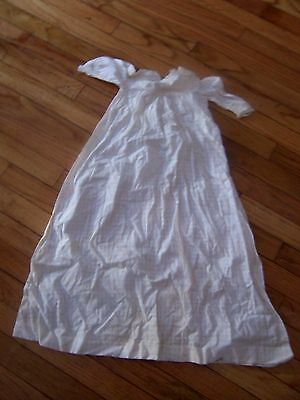 antique hand sewn white cotton baby christening gown w mop buttons &embroidered