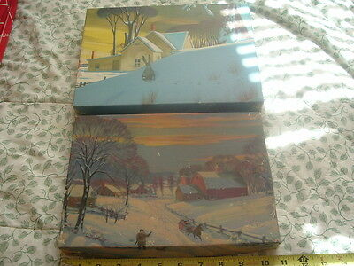 2 Vintage Collectible Holiday Scene Department Store Boxes,Boxes Only.