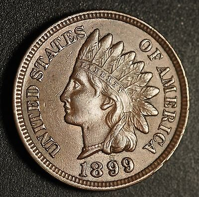 1899 INDIAN HEAD CENT - With LIBERTY & Near 4 DIAMONDS - AU UNC