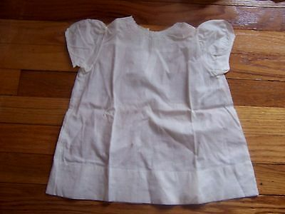 vtg white cotton baby dress   handmade w embroidered  w mop buttons