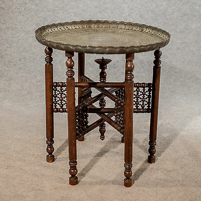 Antique Berber Tray Stand Coffee Tea Folding Table Quality Edwardian c1910