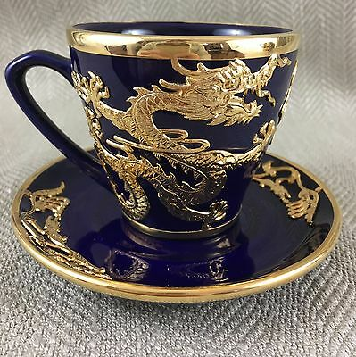 Chinese Cup & Saucer Duo Cobalt Blue Gold Dragon Oriental Ornate Teacup Vintage