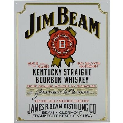 Jim Beam White Label Metal Tin Sign Man Cave Pub Bar 40.5 x 31.5 Genuine USA