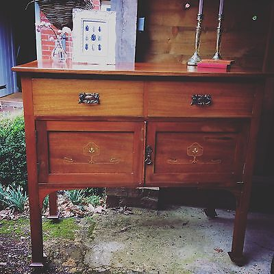 Antique Edwardian Mahogany Inlaid Sideboard Wash Stand Cupboard Vintage Cabinet