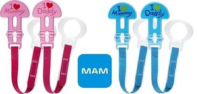 Mam  2 clips  I Love Mummy/Daddy soother clips  age 0m+  boys or girls  bpa free