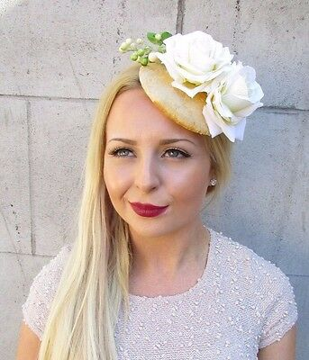 Ivory Cream Gold Berry Flower Fascinator Hair Clip Races 1950s Rockabilly 2417