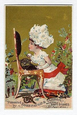 VICTORIAN GIRL & Toy CANNON Shoes Trade Card ST PAUL Minnesota FOREPAUGH TARBOX