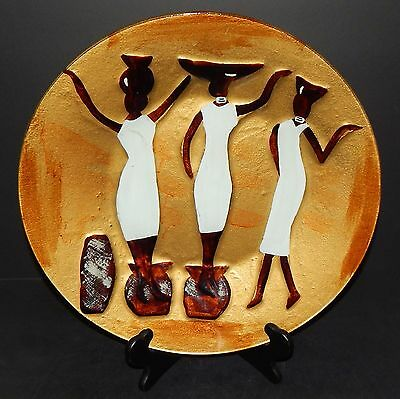 African Art Heavy Gold Brown GLASS PLATE / BOWL With Three Africa Women 14.75""