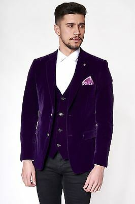 Mens Marc Darcy Designer Formal Purple Velvet Blazer Dinner Party Jacket