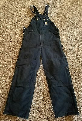 Mens Carhartt work bibs overalls insulated black 34x30