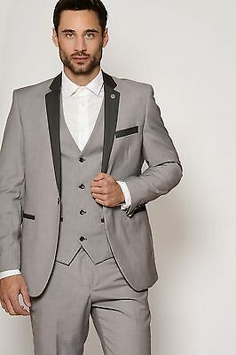 Mens Marc Darcy Designer Light Grey Three Piece Work Wedding Suit