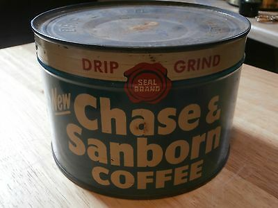 Unopened Chase & Sanborn Full Key wind Coffee Tin Can Vintage Collectible