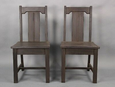 Pair 1930s Rancho Monterey Period Wood Side Chairs Antique Vintage Seat (10093)