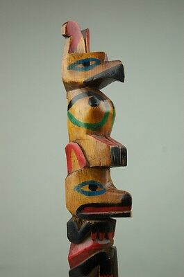 North West Coast American Indian Totem Pole Excellent Ca.1900 Free Shipping