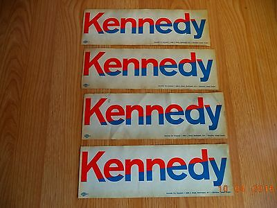 """Vintage Kennedy for President Stickers Lot of 4  11"""" X 4"""""""