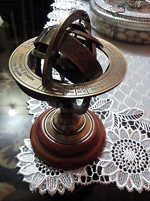 Vintage Desk Brass Sphere Collectible Tabletop Armillary Wooden Base Decorative