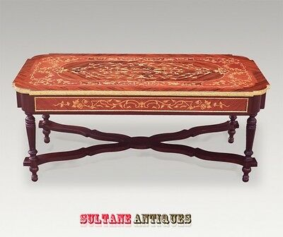 French marquetry and bronze Louis XV style coffee table