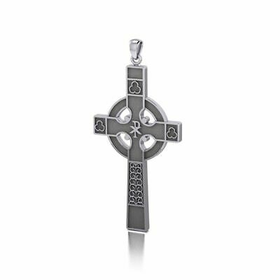 Medieval Celtic Cross Sterling Silver Pendant by Peter Stone Unique Fine Jewelry