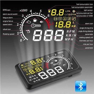 "5.5"" X3 ELM327 OBD2 HUD Head Up Display Bluetooth Engine Speed Alarm Speedometer"
