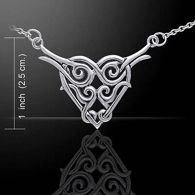 Celtic heart Knotwork Sterling Silver Necklace by Peter Stone Fine Jewelry