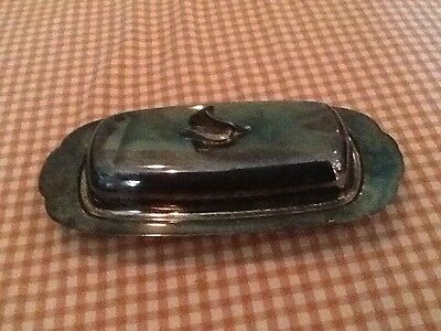 Vintage ONEIDA SILVERSMITHS Silver Plate Covered Butter Dish