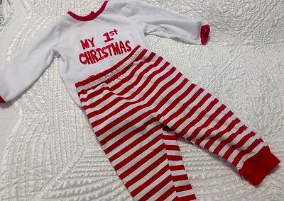 Baby boy girl First Christmas Pajamas Red and White Santa size 6-9 months