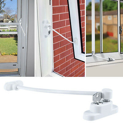 Window Door Restrictor Lock Child Baby Safety Security Catch Wire Cable White
