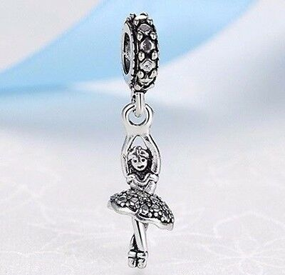 Silver Plated Dancing Ballerina dangle hanging Charm Fit European Brand bracelet