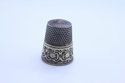 Antique Simons Brothers Sterling Silver Thimble Size 9 Gold Overlay Band