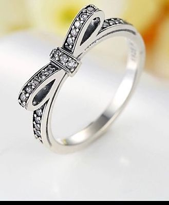Solid 925 silver sterling Luxury Sparkling Delicate bow knot crystal Stone Ring
