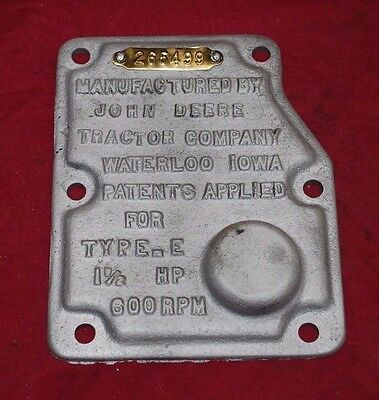 1 1/2 hp John Deere E Governor Cover Name Plate Gas Engine Motor Hit Miss