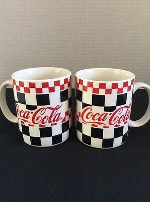 2 -Coca Cola 12 oz Ceramic Mug 1999 Gibson Checker Pattern Red, Black & White