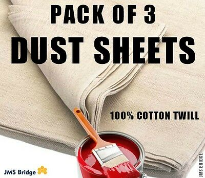 3 X Professional Quality 100% Cotton Twill Heavy Duty Dust Sheets Decorating