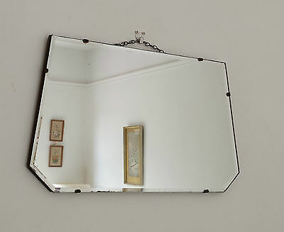 Vintage Retro Antique Frameless Overmantle Bevelled Art Deco Wall Hall Mirror