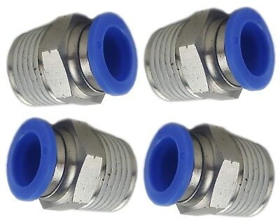 "4 - Brass Fitting Straight 3/8""npt To 3/8"" Hose Push Connect Air Ride Suspension"