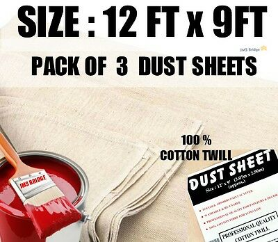 3  Extra Large Professional Quality 100% Cotton Twill Dust Sheets Decorating