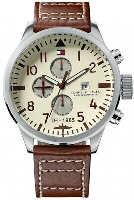 Tommy Hilfiger Men's Multi-Function Brown Leather Watch 1790684
