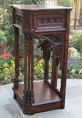 Antique French Oak 2-Tier GOTHIC Pedestal with Drawer Display Table Nightstand