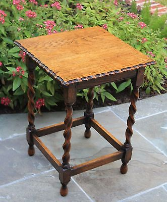 Antique English Oak Small Square Top Barley Twist Pie Crust Occasional End Table