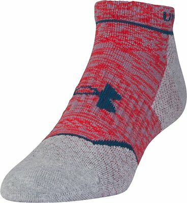 Under Armour Men's Tour No Show Socks Grey/Red Size 9-12.5 UK