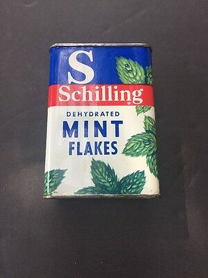 Vintage SCHILLING Mint Flakes Tin Can .1/4 oz.  Nice!