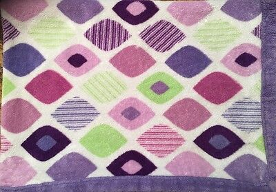 Baby Boom Purple Diamond Security Blanket Lovey Plush RARE Green Pink