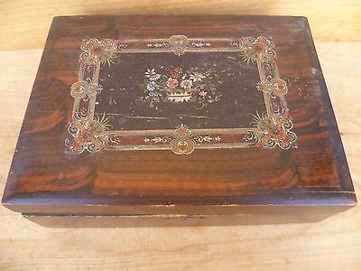 Vintage Old Floral Scene 'flower' Decorated Large Size Box, Old Box D753)