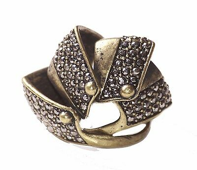 Armour Style Antique Bronze & Diamante Encrusted 4 part Ring Zx81TR/252/287
