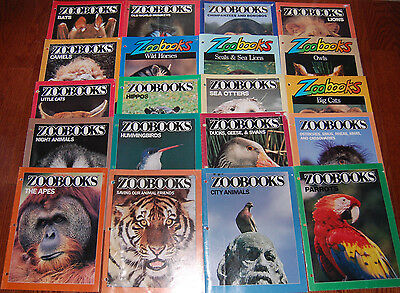 Lot of 20 Vintage ZooBooks Children's Magazines 1980s-1990s Assorted Animals