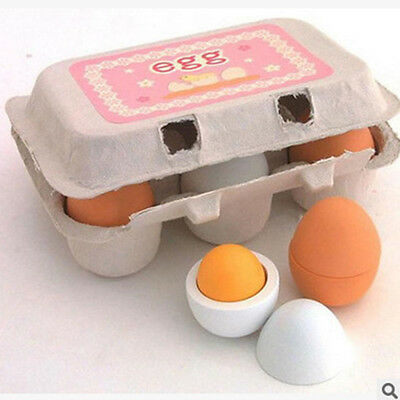 6Pcs Set Simulation Wooden Egg Toys Pretend Play Kitchen Food Cooking Kids Toy