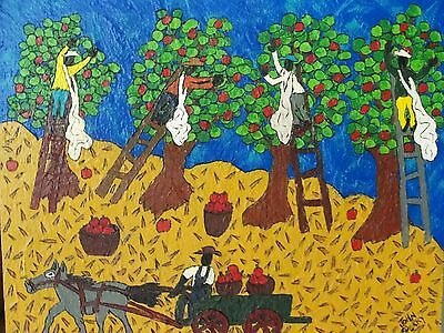 John Sperry Primitive Outsider Southern Folk Art painting Mixed Media on Wood